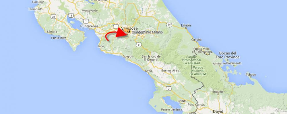 Milano on map of Costa Rica