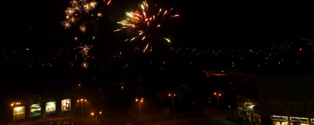 Living area - fireworks over Avenida from the condo