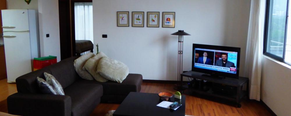 Living area, TV, wifi, futon etc