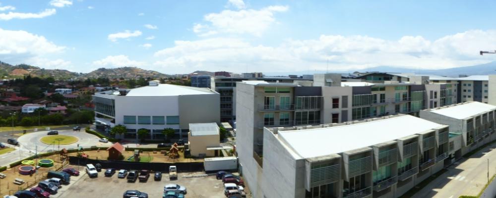 Living area balcony panorama of Avenida Escazu from balcony