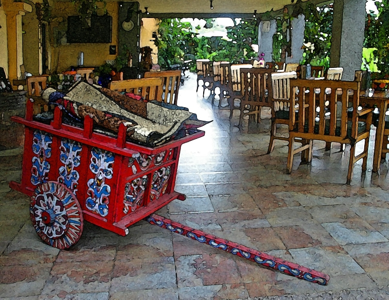 Traditional painted Costa Rican oxcart